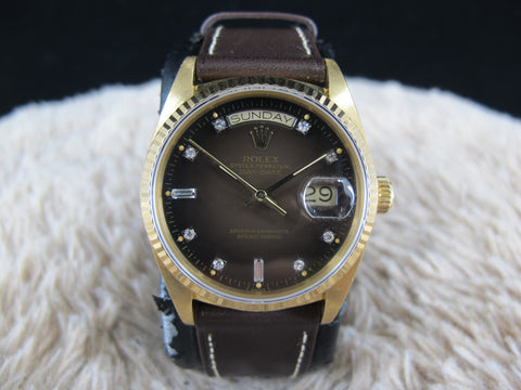 [1987] Rolex DAY-DATE 18038 18K YG with Original Chocolate Vignette Diamond Dial