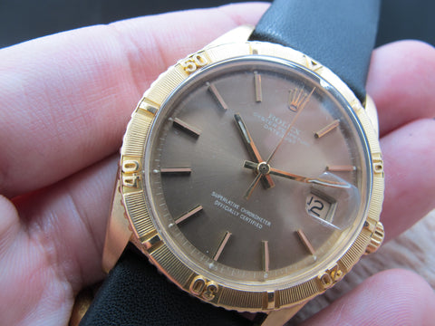 1970 Rolex DATEJUST THUNDERBIRD 1625 18K YG with Original Bronze Dial