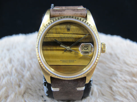 [1977] Rolex DATEJUST 16018 18k Yellow Gold ORIGINAL Tiger Eye Dial
