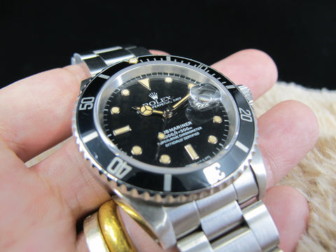 [1988] Rolex SUBMARINER 16610 (T25) Black Dial Yellow Lume with Box and Paper