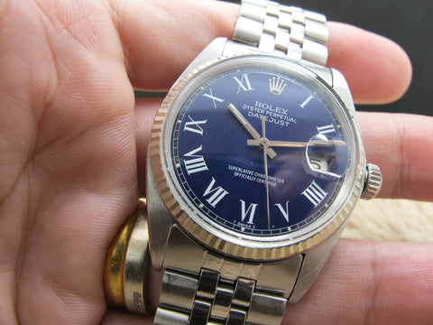 1965 Rolex DATEJUST 1601 SS Blue Roman Dial with Jubilee Band