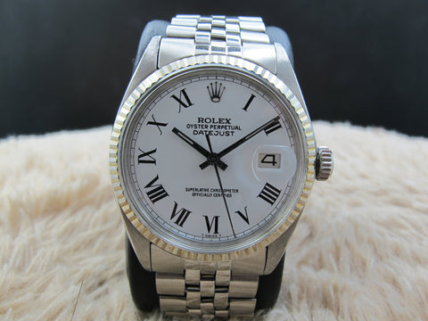1969 Rolex DATEJUST 1601 SS White Roman Dial with Jubilee Band