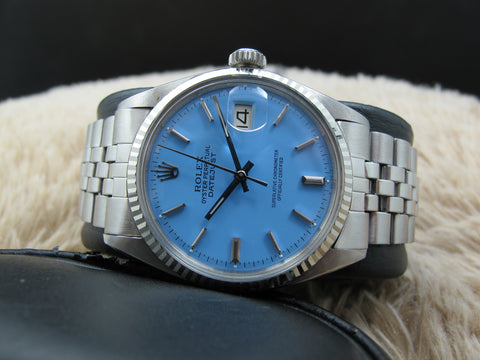 "1977 Rolex DATEJUST 1601 SS with Glossy ""Stella"" Sky Blue Dial"