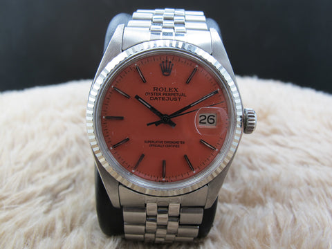 "1977 Rolex DATEJUST 1601 SS with Glossy ""Stella"" Orange Dial"