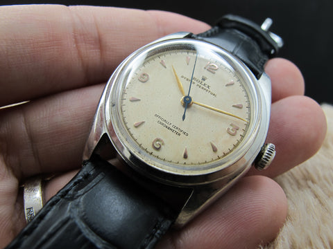 1947 Rolex BUBBLEBACK 5048 with Raised 3 6 9 12 Creamy Dial