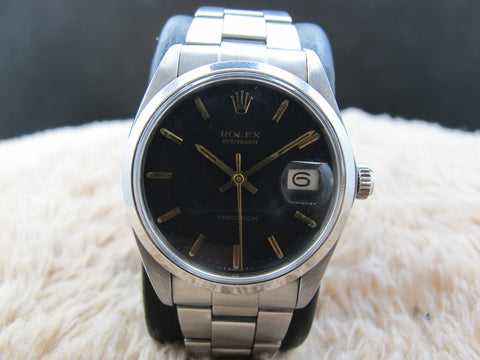 1970 Rolex OYSTER DATE 6694 Original Matt Black Dial with Gold Markers