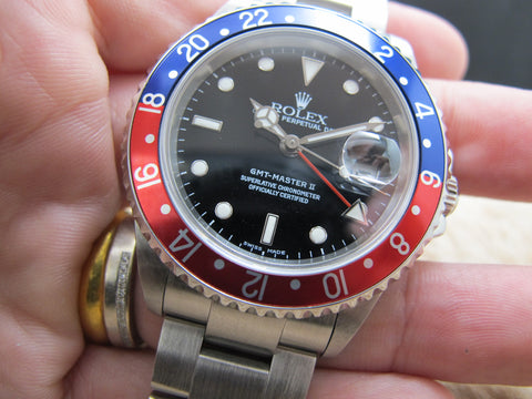 2002 Rolex GMT MASTER 2 16710 Pepsi Bezel with BOX and PAPER