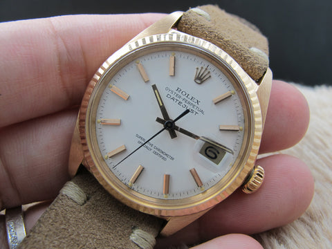 [1970] Rolex DATEJUST 1601 18K Pink Gold with Original White Dial