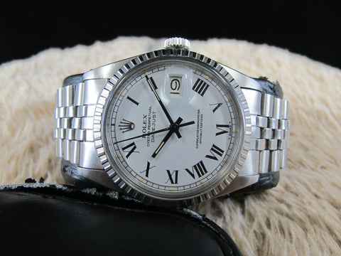 [1972] Rolex DATEJUST 1603 SS ORIGINAL White Buckley Dial with Box and Paper