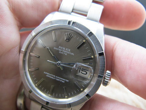 1971 Rolex OYSTER DATE 1501 with Engine Turned Bezel and Original Grey Dial