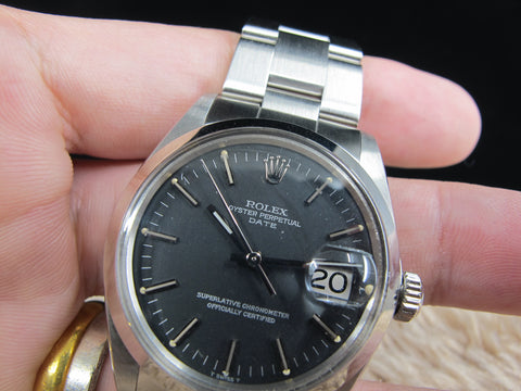 1972 Rolex OYSTER DATE 1500 Original Matt Black Dial with Solid Oyster Band
