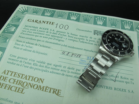 1988 Rolex SUBMARINER 168000 Black Dial with Paper (Triple 0)