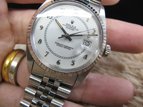 "[1985] Rolex DATEJUST 16014 SS Original White Enamel ""Boiler Gauge"" Dial with Box & Paper"