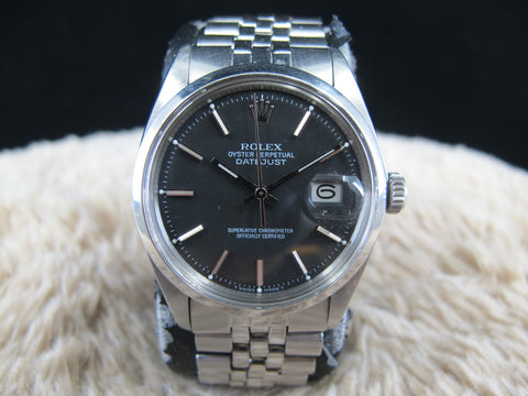 [1972] Rolex DATEJUST 1600 SS ORIGINAL Matt Black Dial with Folded Jubilee Band