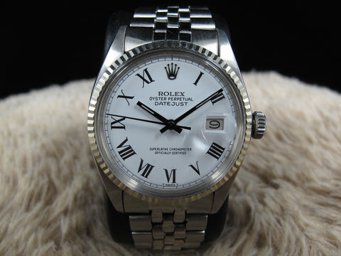 1969 Rolex DATEJUST 1601 SS White Buckley Dial with Black Hands