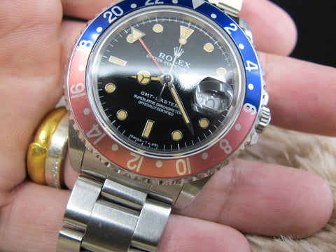 [1991] Rolex GMT MASTER 16700 (T25 Dial) Yellow Lume with Pepsi Red/Blue Bezel