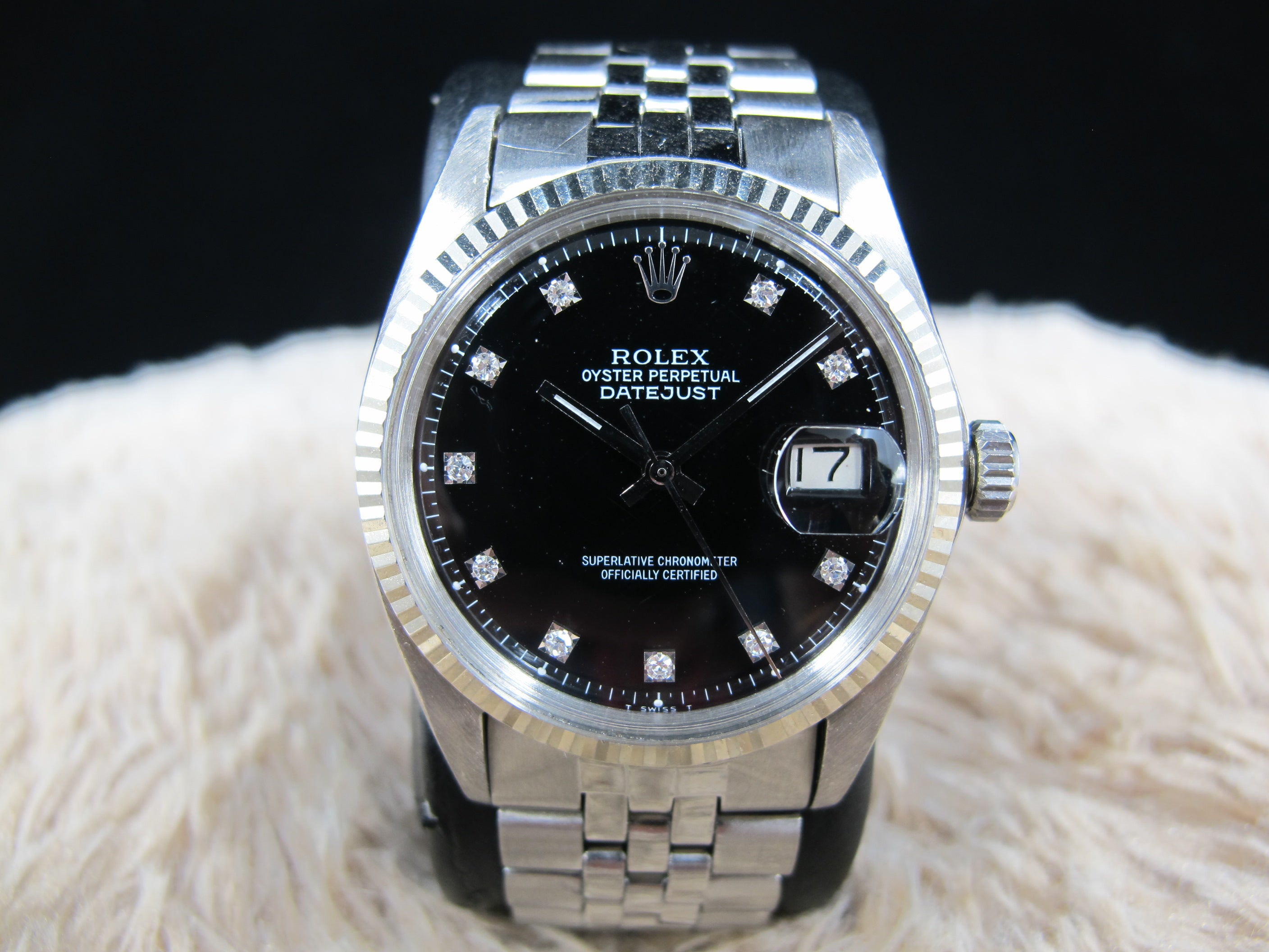 1969 Rolex DATEJUST 1601 SS Black Diamond Dial with Folded Jubilee