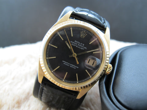 1965 Rolex DATEJUST 1601 18K YG with Original Brownish Grey Dial