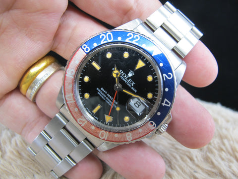 [1985] Rolex GMT MASTER 16750 Pepsi with Pumpkin Patina and Solid Band