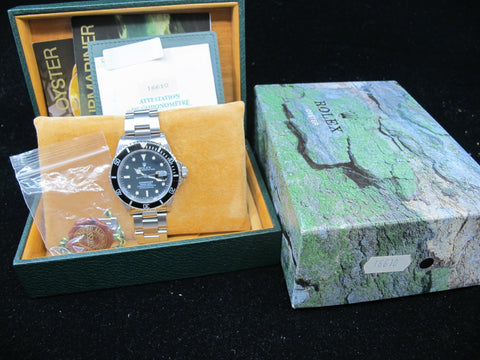 [1989] Rolex SUBMARINER 16610 (T25) Black Dial Cream Lume with Box and Paper