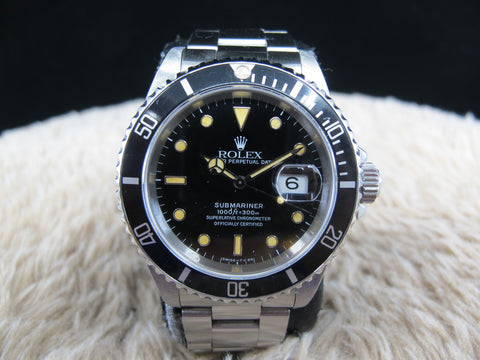 [1991] Rolex SUBMARINER 16610 (T25) Black Dial Yellow Lume with Box and Paper