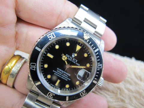 [1995] Rolex SUBMARINER 16610 (T25) Black Dial Yellow Lume with Box and Paper