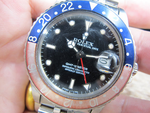1985 Rolex GMT MASTER 16750 Pepsi Yellowish Patina with Box and Paper