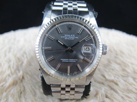 [1972] Rolex DATEJUST 1601 SS with Original Dark Grey Dial with Solid Jubilee Band