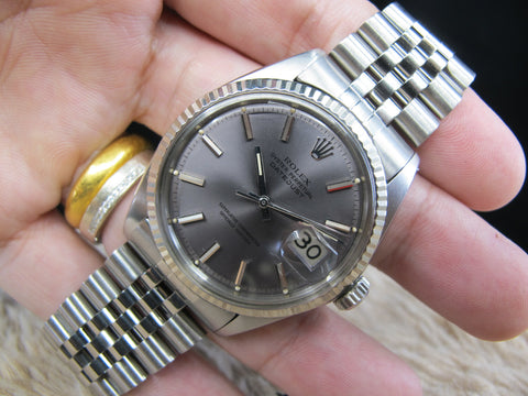 "[1969] Rolex DATEJUST 1601 SS ORIGINAL ""Lavender"" Purple Dial with Solid Jubilee"
