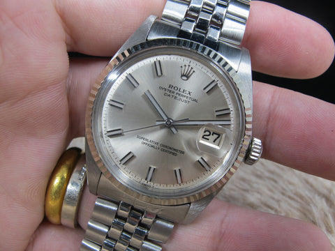 1967 Rolex DATEJUST 1601 SS with Original Wide Boy NO LUME Dial