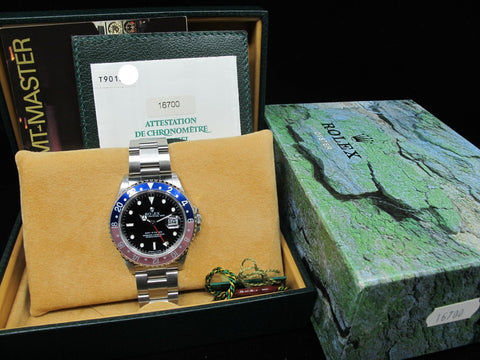 1997 Rolex GMT MASTER 16700 Pepsi Red/Blue Bezel with BOX and PAPER