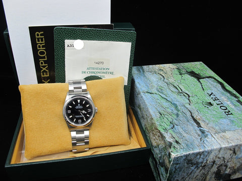 1999 Rolex EXPLORER 1 14270 Black Dial Full Set with RSC Paper
