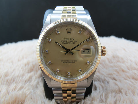 1986 Rolex DATEJUST 16013 2-Tone Original Gold Diamond Dial