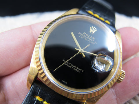 1983 Rolex DATEJUST 16018 18K YG with Original Onyx Dial and Paper