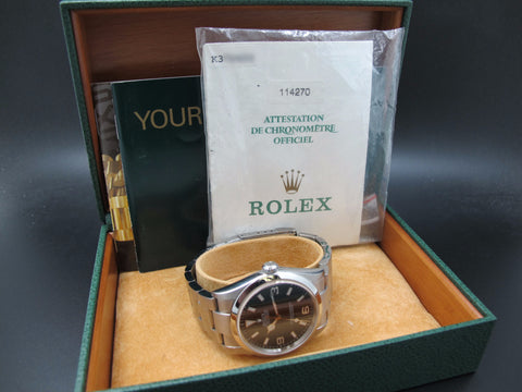 2001 Rolex EXPLORER 1 114270 Black Dial with Box and Paper