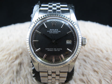 [1972] Rolex DATEJUST 1601 SS ORIGINAL Matt Black Sigma Dial with SILVER Printing