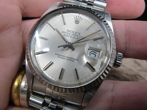 1984 Rolex DATEJUST 16014 SS with Original Silver Dial with Orange Lume
