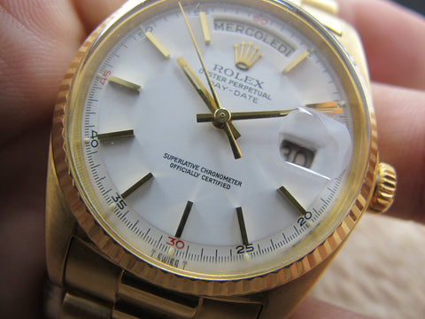 1972 Rolex DAY-DATE 1803 18K Original White Dial with Red Quarter