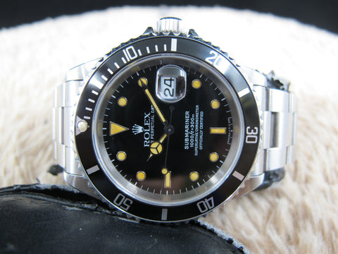 [1993] Rolex SUBMARINER 16610 (T25) Black Dial Yellow Lume with Box and Paper