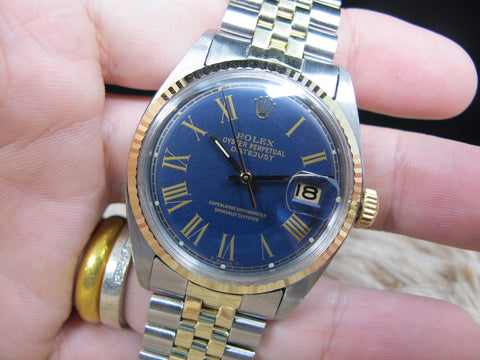 1974 Rolex DATEJUST 1601 2-Tone with ORIGINAL Blue Buckley Dial Box and Paper