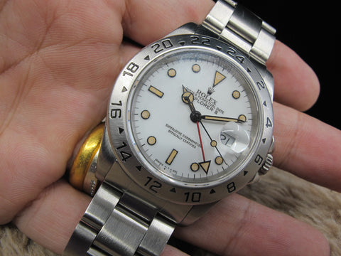 [1996] Rolex EXPLORER 2 16570 with White T25 Pumpkin Dial