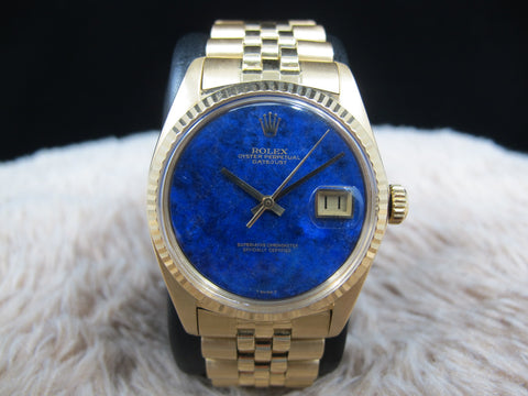 1974 Rolex DATEJUST 1601 18K YG with Original Lapis Dial with Jubilee Band