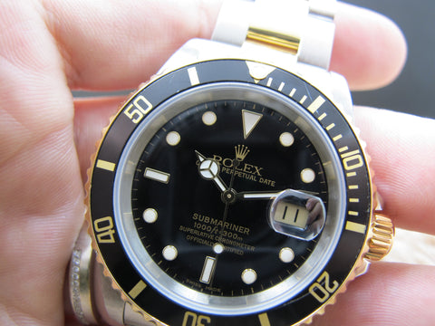 2002 Rolex SUBMARINER 16613 2-Tone Black Dial with Box and Paper