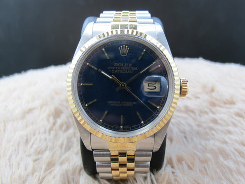 1988 Rolex DATEJUST 16013 2-Tone with ORIGINAL Blue Dial with Paper