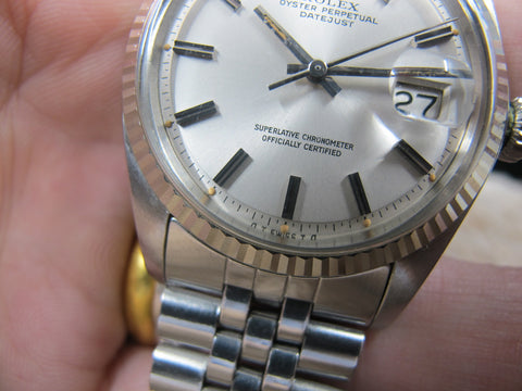 1972 Rolex DATEJUST 1601 SS ORIGINAL Silver SIGMA Dial with Box and Papers