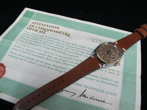 [1971] Rolex DATEJUST 1601 2-Tone ORIGINAL Brown Dial with COSC Paper