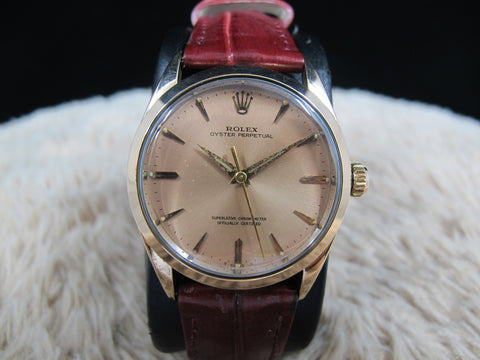 [1966] Rolex OYSTER PERPETUAL 1024 PINK Gold Shell Original Salmon Dial