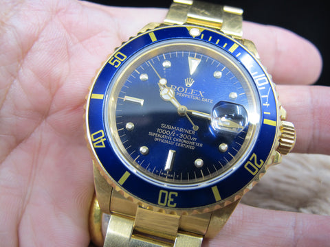 1987 Rolex SUBMARINER 16808 18k YG with Blue Nipple Dial UNPOLISHED