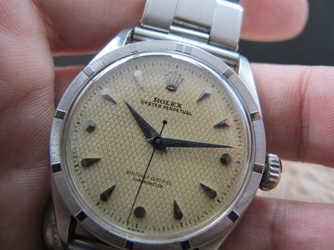 1952 Rolex BUBBLEBACK 6103 with Waffle Dial (no lume) and Engine Turned Bezel