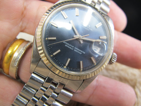 1972 Rolex DATEJUST 1601 SS with Original Blue Wide Boy Dial